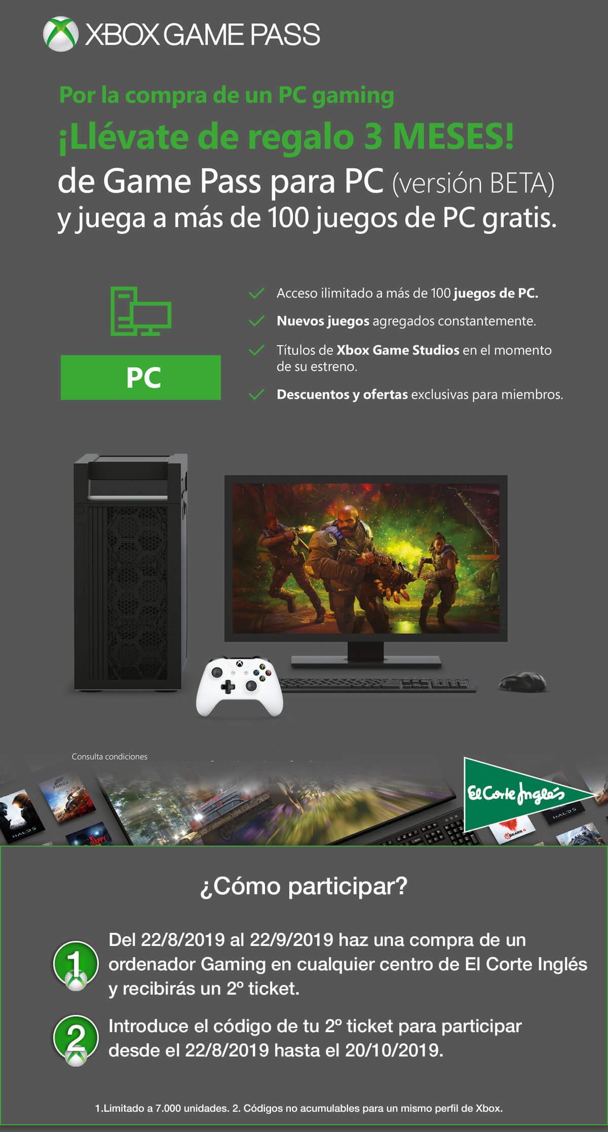 Compra un PC Gaming en El Corte Inglés y consigue 3 meses gratis de Xbox Game Pass