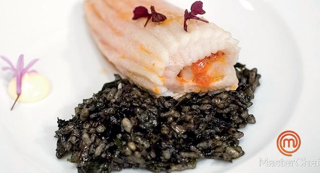 MasterChef 2: Raya asada con mantequilla de tomate y arroz negro de algas