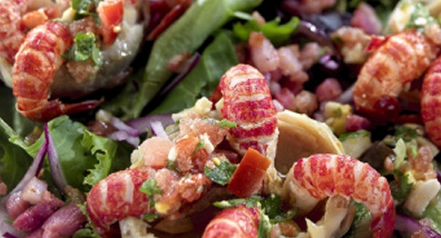Ensalada de cangrejo y alcachofas
