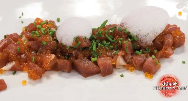 MasterChef Junior 4: Tartar de atún rojo con aire de wasabi y esferas kimchi