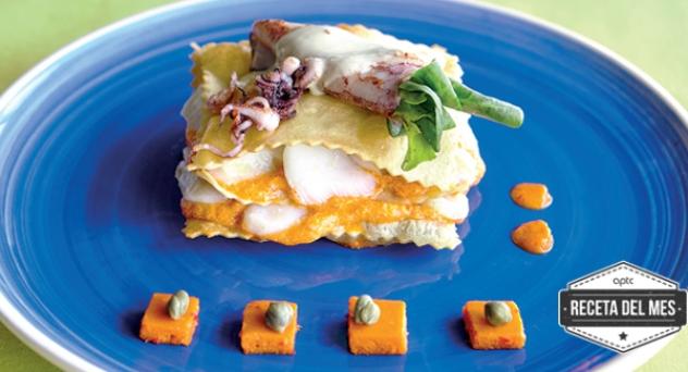 Milhojas de bacalao con mousse de pimiento rojo