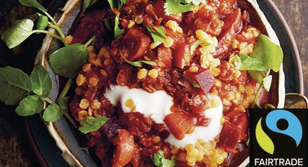 Curry rojo con lentejas y remolacha
