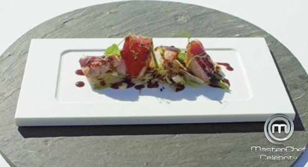 MasterChef Celebrity 2: Ensalada de ventresca de atún con umami vegetal y lechugas braseadas
