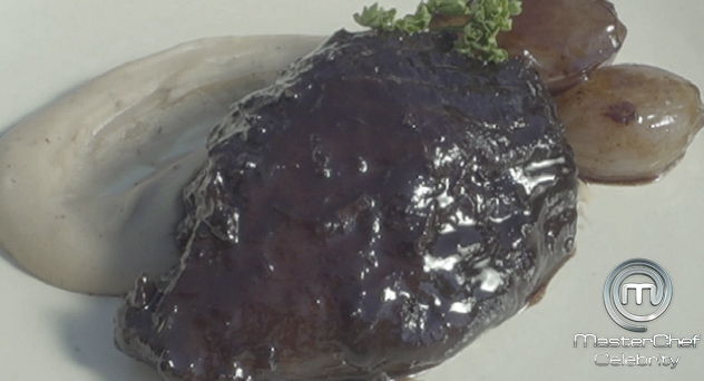 MasterChef Celebrity 2: Jarrete de ternera gallega al vino mencía con puré de castañas
