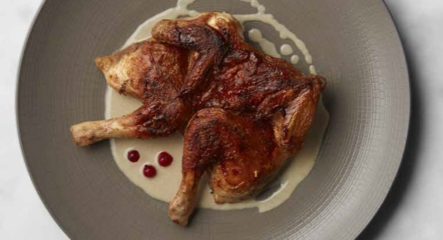 Pollo asado con salsa de champán