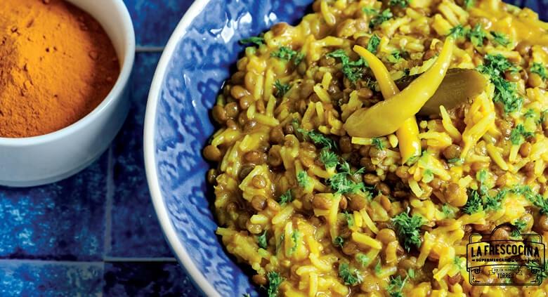 Arroz basmati con lentejas al curry
