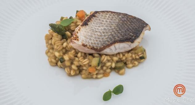 MasterChef 6: Lubina con risotto de trigo tierno y verduras