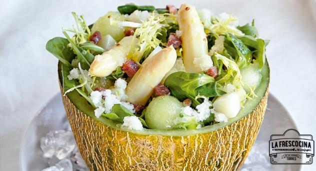 Ensalada de melón, espárragos y jamón