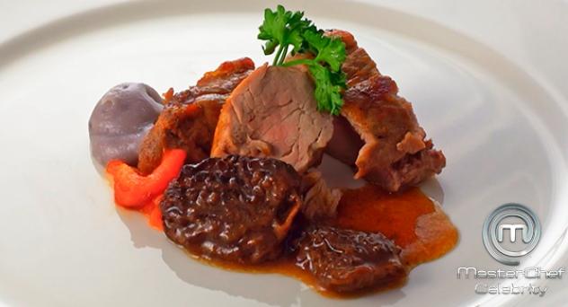 MasterChef Celebrity 3: Carne asada con puré de patata morada, colmenillas y pimiento rojo asado