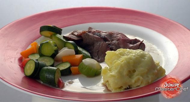 MasterChef Junior 6: Rost-beef de buey con encurtidos y puré de patata ratte