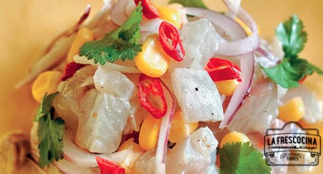 Ceviche de seriola con sopa de maíz