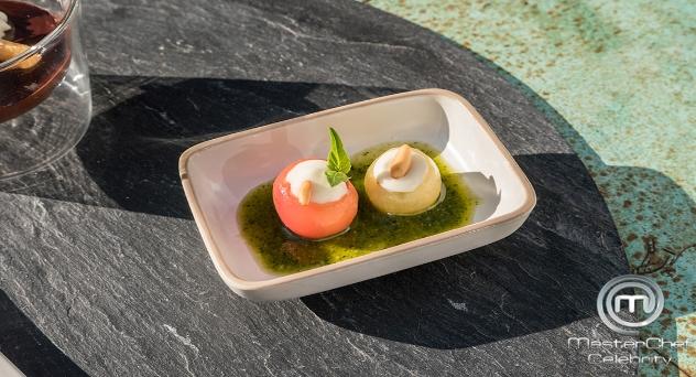 Receta MasterChef Celebrity 4: Tomatitos rellenos de cremoso de payoyo con pesto