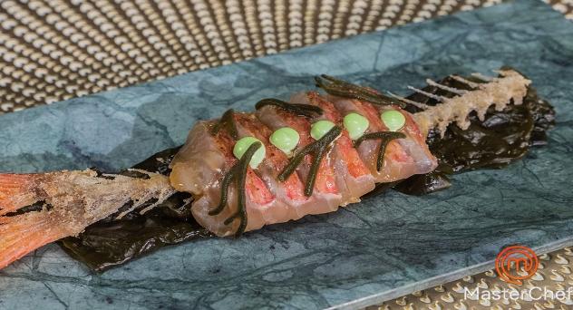 Masterchef 8: Sashimi de salmonete con salsa ponzu y emulsión de wasabi