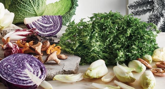Productos frescos para navidad, frutas y verduras