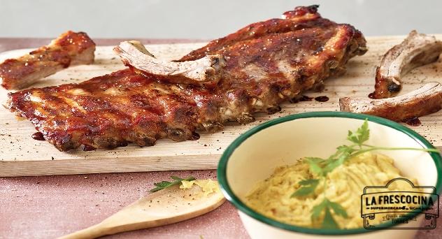 Costillar de cerdo duroc al horno con puré de patatas al curry
