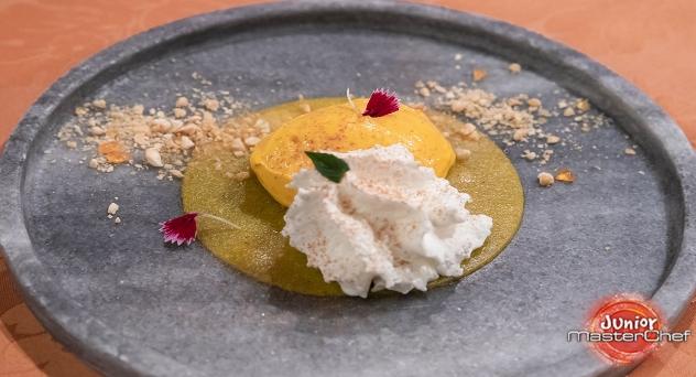 Masterchef Junior 8: Espuma de yogurt, helado de mango, gelatina de frutas de la pasión y almendra