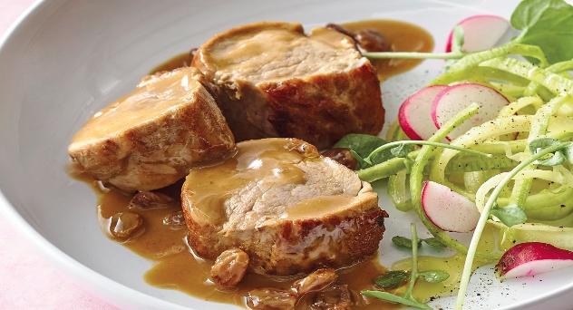 Solomillo de cerdo con salsa de mostaza y naranja