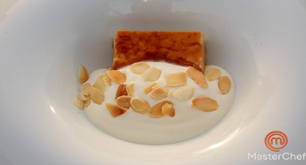 Masterchef 9: Pudding de ensaimada con crema de leche de almendra